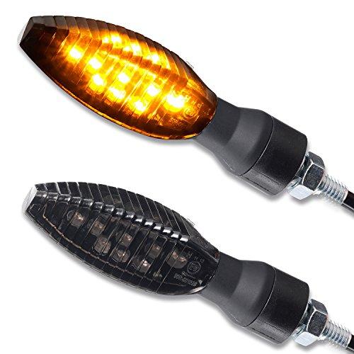 LED Motorrad Mini Blinker Roof schwarz getönt universal Motorrad Roller Moped 1 Paar 2 Stück vorn hinten e-geprüft