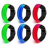 Wendergo 6 Pack LED Armband Flashing Reflective Arm Bands LED Safety Lights Sports LED Bracelet for Night Running Cycling Jogging Hiking(Multicolour)