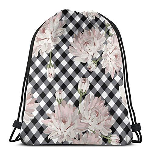 jingqi Chrysantemums Florales En Madres Negras Mochila con Cordón,Sport Cinch Pack,Bolsos De Gimnasio,Travel Sackpack,Gym Bags,Bolsa De Playa