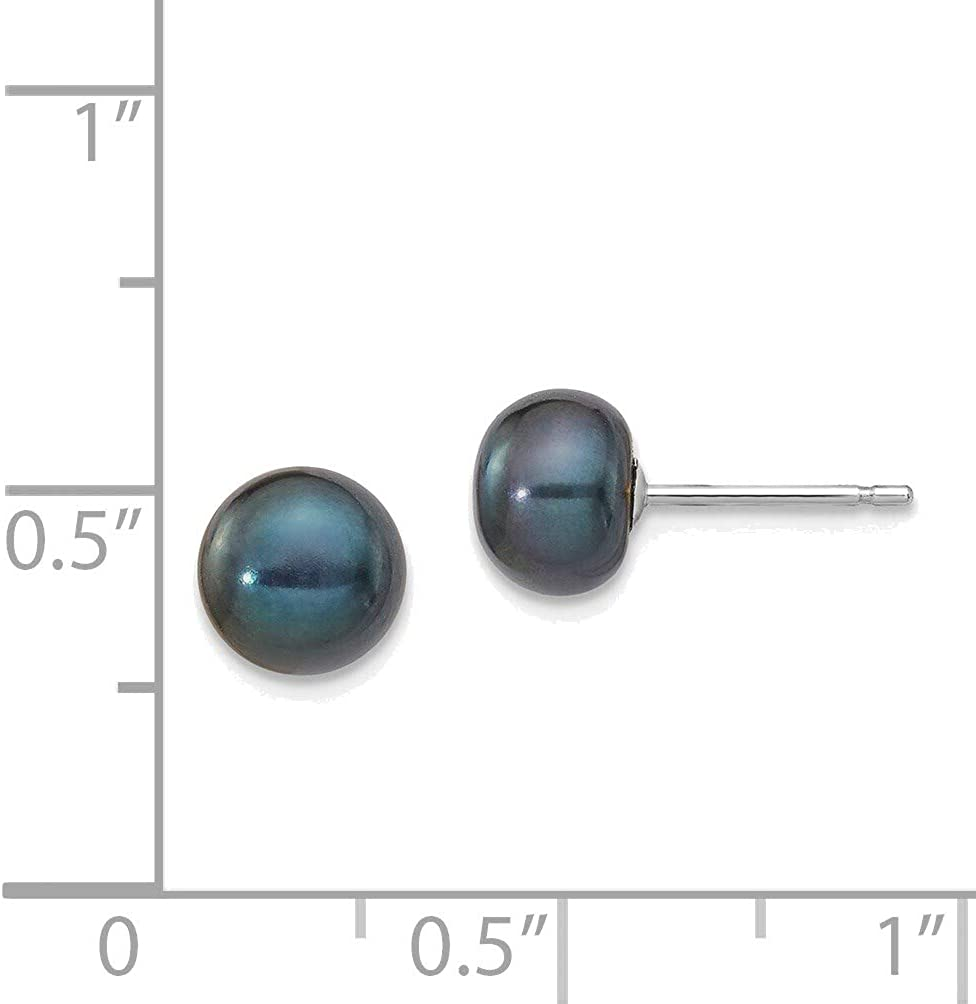 14kt White Gold 6-7mm Black Button Freshwater Cultured Pearl Stud Post Earrings