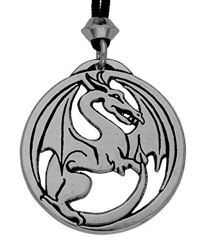 gotische Drachen Draco Zinn Anhänger Talisman (auf schwarzer Schnur)