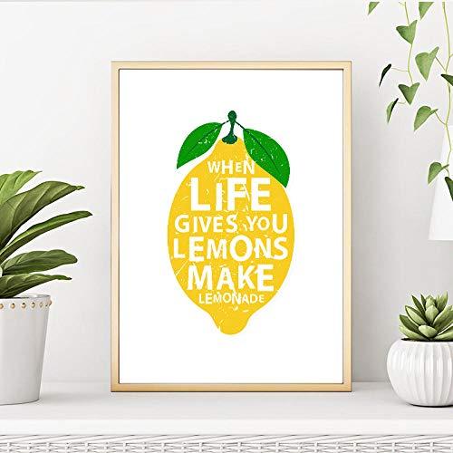 Moderne keuken decor canvas schilderij als het leven geeft citroenen maken limonade citaten kunst poster wandschilderij voor de woonkamer 50x75cmx1-geen lijst