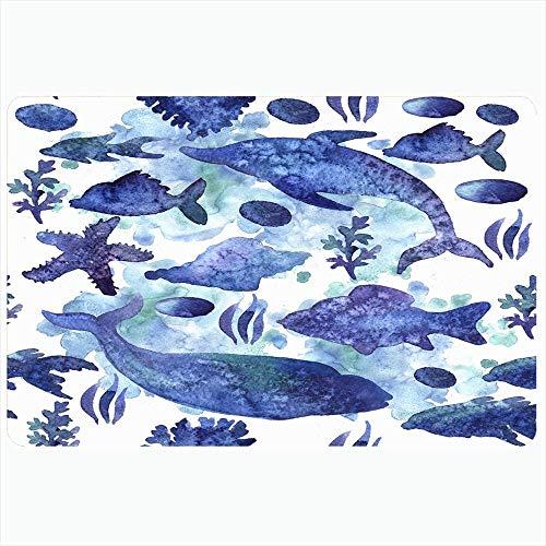 Taroot AA Badteppich Matten Set Aquarium Druck Aquarell Grafik Muster Tiere Design Wildlife Für Sammlung Natur Reisen Fußmatte Rückenmatte - 40X60Cm
