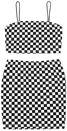 Romwe Girls 2 Piece Outfit Plaid Crop Cami and Bodycon Skirts Set Dress