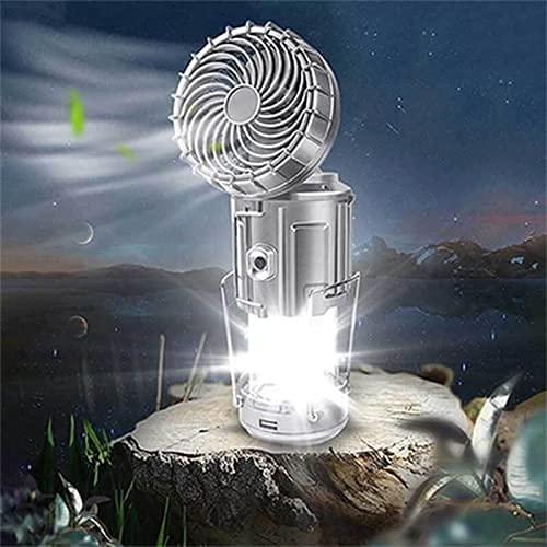 YTYC Linterna LED portátil para Acampar al Aire Libre 6 en 1 con Ventilador, lámpara de Ventilador eléctrico de elevación y Estiramiento Solar al Aire Libre, para Senderismo (Large,Silver)