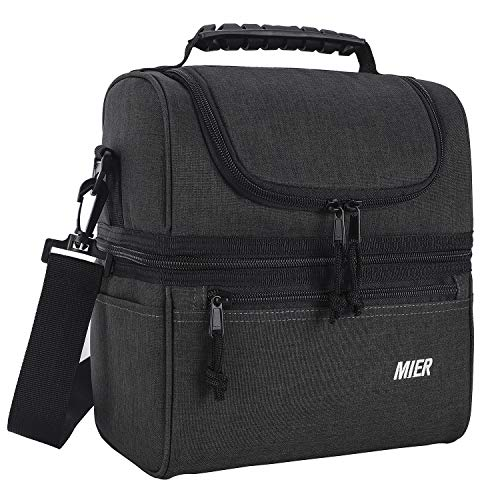MIER 2 Compartment Lunch Bag for Men Women, Leakproof Insulated Cooler Bag for Work, School, Dark Grey, Medium
