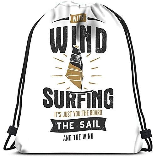 Sanme Mochilas con cordón Bolsas Vintage Windsurf Kitesurf Deportes Bolsa de Gimnasia