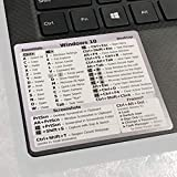 SYNERLOGIC Windows 10 Reference Keyboard Shortcut Sticker - White Vinyl, temporary adhesive 3'x2.75' Cheat Sheet for any 14' and larger PC laptop compatible brands Dell HP Sony Toshiba Asus Acer Compaq MSI Razer and more