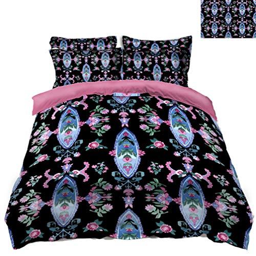 AMON Linnenset, Retro Bloemen Print Queen King Size Dekbedovertrek Bed Sheet Set Hoeslaken