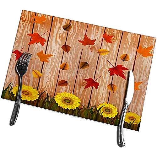 Esstisch Tischsets 6er Set Eine gelbe Sonnenblume mit Herbstblättern auf braunen hölzernen Tischsets