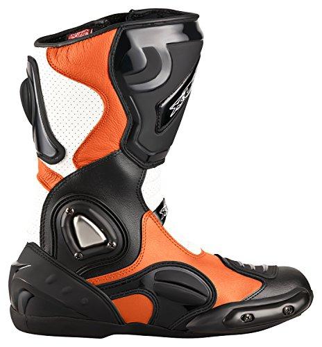 XLS Motorradstiefel hochwertige Racing Boots Touringstiefel Lederstiefel schwarz Orange (47)