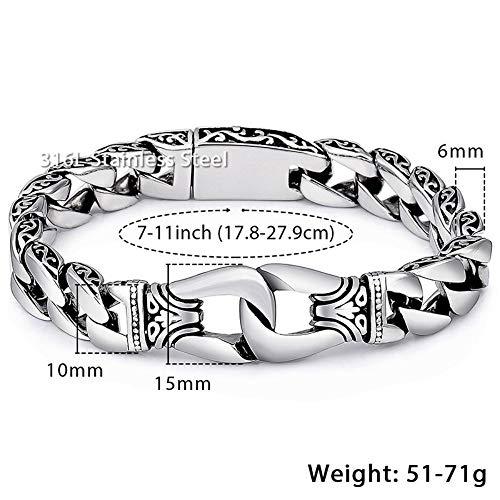 FHDO Armbänder Herrenarmband Edelstahl Link Armband Totem Knot Charm Armband, 18Cm
