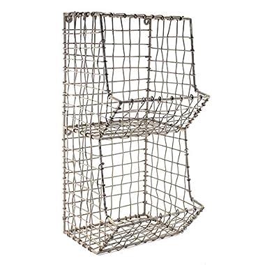 Colonial Tin Works Mini Rustic Wire General Store Wall Bin,Gray,7½ W x 7 D x 16 T