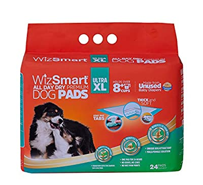 WizSmart All Day Dry Premium Dog and Puppy Training Pads, Made with Recycled Unused Baby Diapers and Eco Friendly Materials (10 Cup Ultra XL, 24 ct)