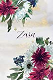 Zara: Personalized Journal Gift Idea  for Women (Burgundy and White Mums)