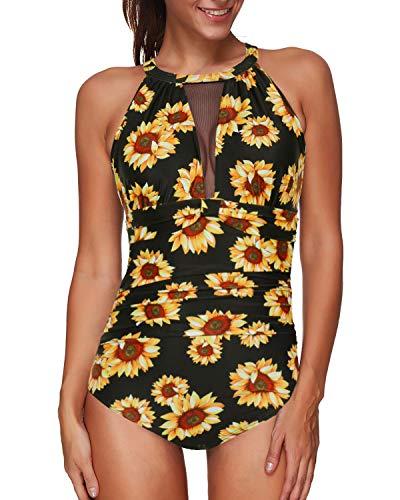 Tempt Me Women One Piece Swimsuits Black Sunflower High Neck V-Neckline Mesh Ruch Swimwear 20W