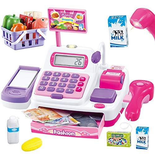Buyger 34 Stück Elektronische Kasse Spielzeug Supermarkt Registrierkasse mit Scanner Mikrofon Rollenspiel Kaufladenzubehör für Mädchen Prinzessin ab 3 Jahren(Rosa)
