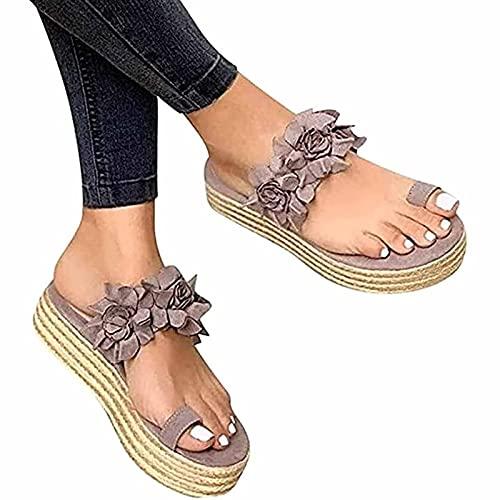 Sandalias de plataforma para mujer, sandalias de dedo del pie, sandalias de espalda, sandalias de plataforma y plataforma para mujer, sandalias ortopédicas, color morado, gris, 40