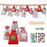 Aitsite 24Pz Borsa Calendario dell'avvento Sacchetti Natalizi dolci Babbo Natale, Christmas Gift Bag, 24 Sacchetti Stoffa + 48 Adesivi Carta + 24 Mini Fermagli Legno + 1 Corde Iuta (10m)