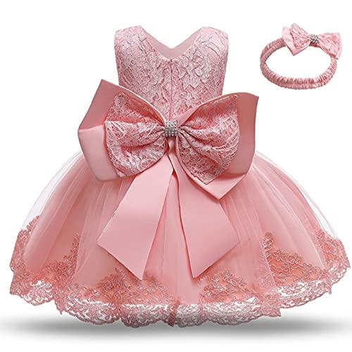 TTYAOVO Baby Mädchen Spitze Kleid Bowknot Blume Hochzeit Kleider Größe(80) 6-12 Monate 648 Hellrosa