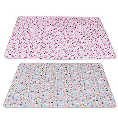Amosfun 2 esterillas portátiles de pícnic, impermeables, para camping, senderismo, viajes, camping, tela Oxford (color caqui rosa)
