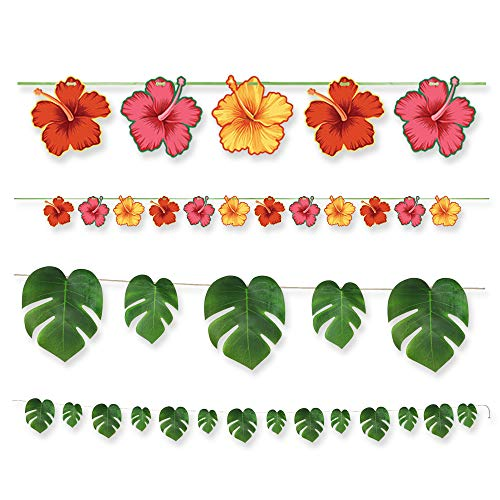 Creative Converting Tropical Garlands Party Favor Bundle | Banner, Streamer | Hawaiian-Themed Celebration, Luau Supplies, Tropical Event, Baby Shower, Beachside Decorations, Flamingo Favors, Weddings