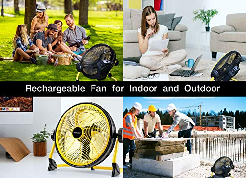 Geek Aire Fan, Battery Operated Floor Fan, 15600mAh Rechargeable Powered High Velocity Portable Fan, Air Circulator Fan with Metal Blade, up to 24h Run Time for Camping Traval Hurricane, 12 Inch