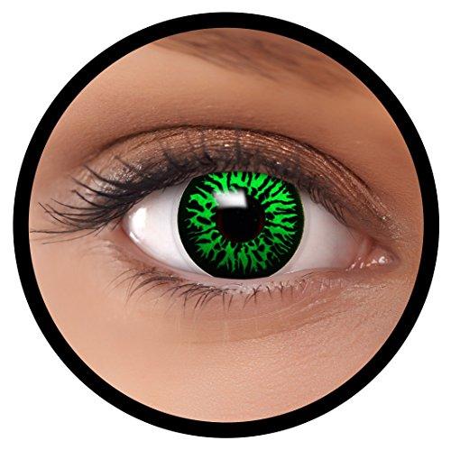 Farbige Kontaktlinsen grün Green Dämon + Behälter, weich, ohne Stärke in als 2er Pack (1 Paar)- angenehm zu tragen und perfekt für Halloween, Karneval, Fasching oder Fastnacht Kostüm