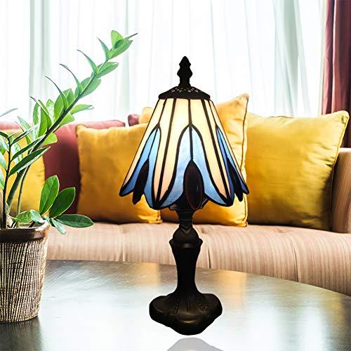 Hanamaki Tiffany-Lampe, Blau Buntglas-Art Barock Tischlampe Für Living Lese Set Wohnzimmer Schlafzimmer Antike Kinderzimmer Couchtisch Bücherregal Banker Lampe