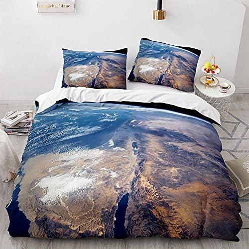 CMYKYUH Funda de edredón 140 x 200 cm Mar Azul Poliéster Juego de Cama con Cierre de Cremallera Ropa de Cama y Dos Fundas de Almohada 50x75 cm para Dormitorio, habitación Infantil