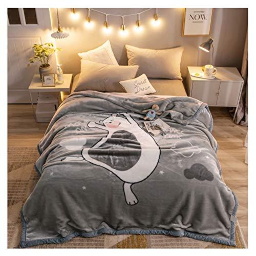 Couverture Corail en Molleton Hiver Épaississement 2 kg Nap Lourd Blanket Simple Chaud Couette Chaude Little (Color : Bear)