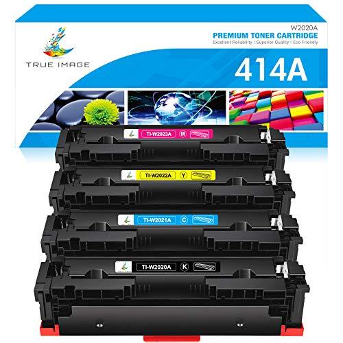 True Image Compatible Toner Cartridge Replacement for HP 414A W2020A 414X HP Color Laserjet Pro MFP M479fdw M479fdn M454dw M454dn M454 M479 Printer Toner (Black Cyan Yellow Magenta,4-Pack)