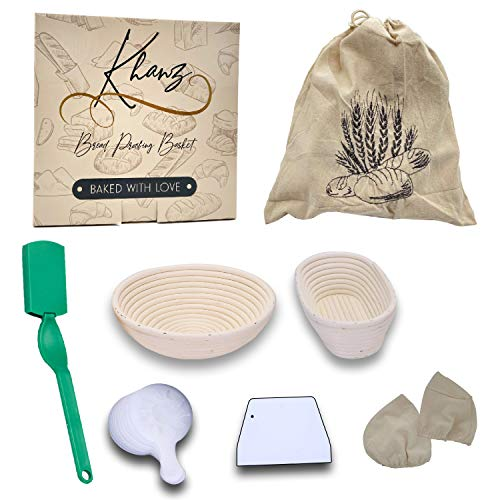 KHANZ Banneton Proofing Basket Complete Set – Premium Bread Proofing Basket with Bread Making Tools – Handcrafted from Natural Rattan – Includes Bread Stencils, Canvas Bread Bag