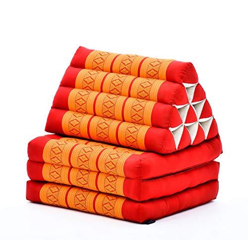 Leewadee Thai-Kissen Falt-Matratze Chill-Out Klapp-Matte Gepolsterte Lesestütze Boden-Liege-Matte mit Dreieck-Kissen Thai-Matte, 170x53x40 cm, Kapok, orange rot