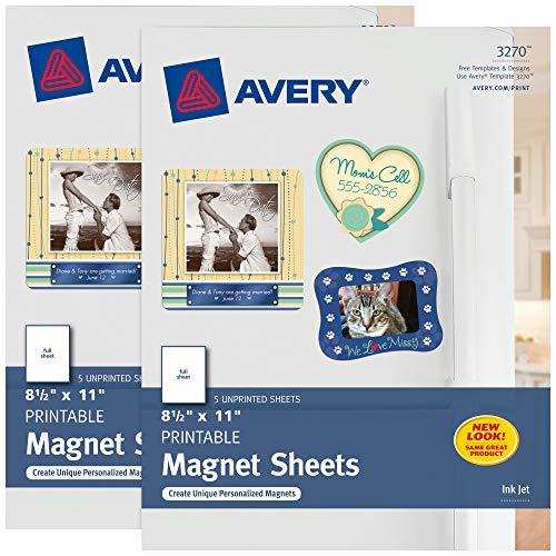 Avery Printable Magnet Sheets, 8.5' x 11', Inkjet Printer, 2 Packs, 10 White Magnetic Sheets Total (5814)
