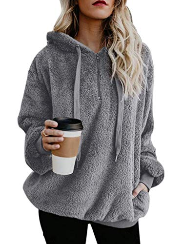 Century Star Womens Fuzzy Hoodies Pullover Cozy Oversized Pockets Hooded Sweatshirt Athletic Fleece Hoodies Grey Large