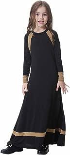 IWEMEK Kids Girls Muslim Islamic Dress Long Sleeves Soft Full Length Robe Burka Arab Prayer Maxi Abaya Kaftan Dress
