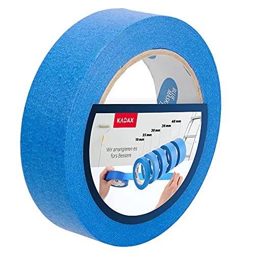 KADAX blaues Malerband, 50m, Schutzband, Blue Tape, Malerkrepp, Kreppband, Abklebeband, Abdeckband für Malerarbeiten, Malerklebebänder UV-Beständig (W: 30mm)