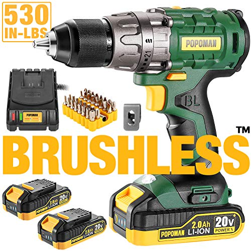 """Cordless drill, 20V Brushless 1/2"""" Drill Driver, 2x2000mAh Batteries, 530 In-lbs Torque, 21+1 Torque Setting, Fast Charger 2.0A, 2-Variable Speed, 33pcs Accessories"""
