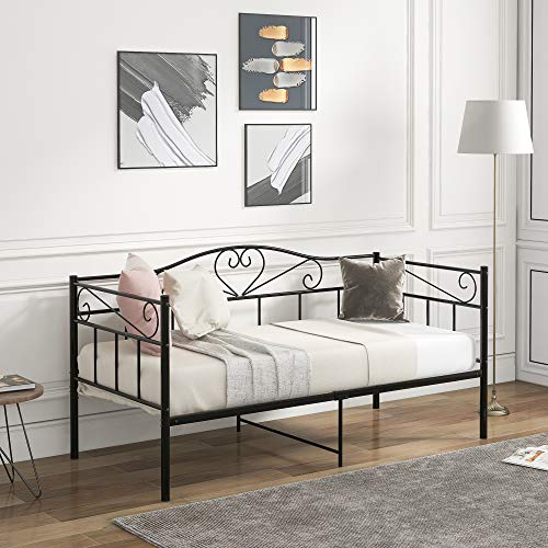 3FT Metal Daybed, Single Bed Frame with Headboard and Solid Metal Slat, Guest Bed Sofa Bed For Guest Room Children Bedroom