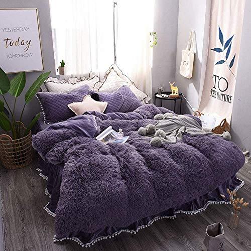 RUXMY Thermal Four Sets of Duvet Covers, Plush Velvet, Zip Closure, Purple, Bedding, 220 * 240Cm