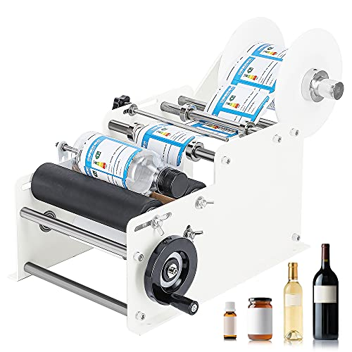 Hanchen Manual Round Bottle Labeling Machine Adjustable Labeler Label Applicator Machine 15-20pcs/min MT-30 for Width 10-110mm Length 10-300mm Label