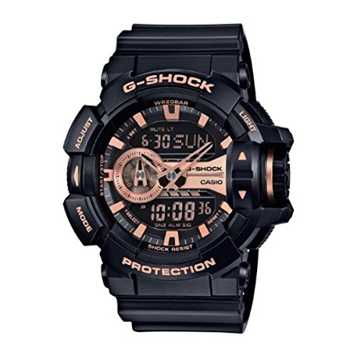 Casio G-Shock Gold-Tone Dial Resin Black Rose Quartz Men's GA400GB-1A4 Watch