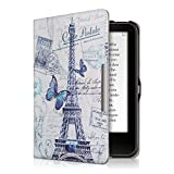 kwmobile Hülle kompatibel mit Tolino Vision 1/2 / 3/4 HD - Kunstleder eReader Schutzhülle - Eiffelturm Schmetterling Blau Grau Weiß
