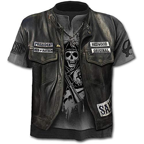 T-Shirt Herren 3D Druck Rundhals Kurzarm Shirt Schädel Krieger T-Shirt unter Jeans Lederjacke männlich 3DT Shirt Kurzarm Rundhals Digitaldruck lässig Kurzarm-Color_2XL