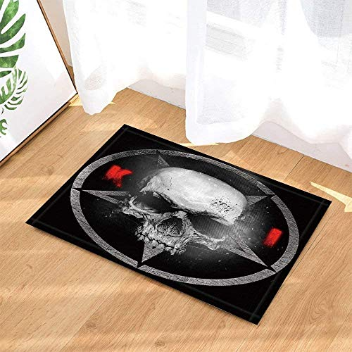 ZHANGSHUQI War Shower Curtain Skull Pentagram Army Sign Predator Kill Massacre Weird Non-Slip Doormat Floor Entryways Indoor Front Door Mat Kids Bath Mat Bathroom Accessories