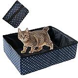 Inodoro plegable portátil para gatos genéricos, impermeable, limpio y suave, para uso doméstico al aire libre, color azul
