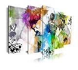 DekoArte 468 - Cuadros Modernos Impresión de Imagen Artística Digitalizada   Lienzo Decorativo Para Tu Salón o Dormitorio   Estilo Mapamundi Mapa del Mundo Ciudades Acuarelas   5 Piezas 200x100cm XXL