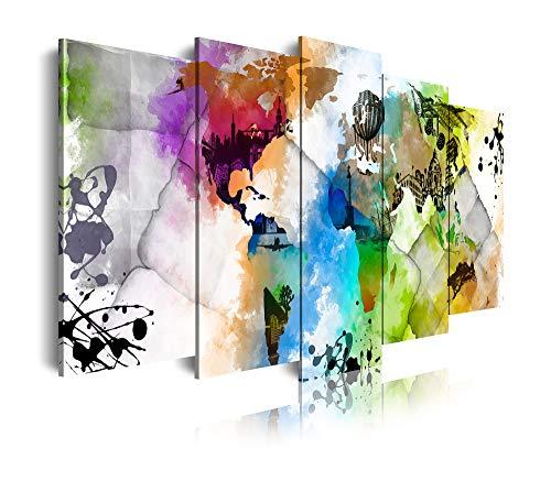 DekoArte 468 - Cuadros Modernos Impresión de Imagen Artística Digitalizada | Lienzo Decorativo para Tu Salón o Dormitorio | Estilo Mapamundi Mapa del Mundo Ciudades Acuarelas | 5 Piezas 200x100cm XXL