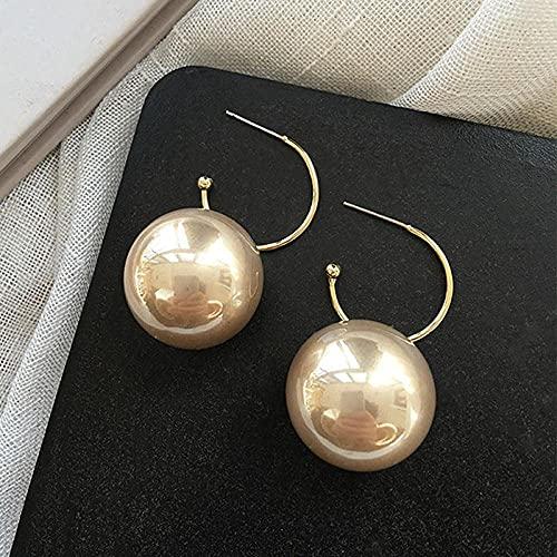 Pendientes para niñas, QWEA 1 par de pendientes colgantes de aro de perlas blancas redondos grandes de estilo moderno y elegante, pendientes colgantes de cuentas de bolas grandes, r